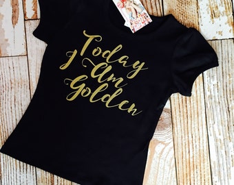 Golden Birthday t shirt  SHORT  sleeve black t or tank with name and age on back