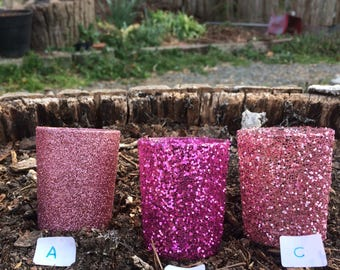 12 Pink Glitter Votive Candle Holders Wedding Party Favors Hot Dusty Rose Pastel Blush Table Decoration Centerpiece Reception Tealight