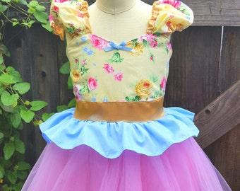 Pretty floral dress, Romantic dress, Shabby chic dress, yellow, pink, floral dress, Spring dress, tutu dress, dress for girls dress, gold