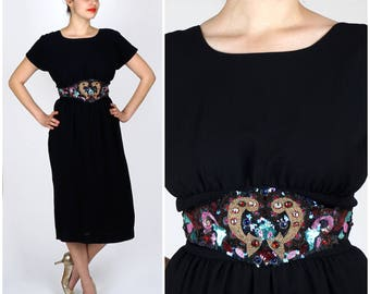 Vintage 1960s Black Sheath Dress with Deep Open Back and Belt of Colorful Beads & Sequins | Medium