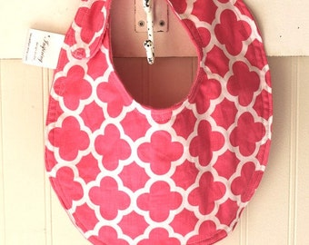 Baby-Toddler-Bib-Bibs-Pink-Coif-Deco-Mnky Dot-Reverseable-Snap-Enclosure-Designed-By-Inspiring-Design-Studio