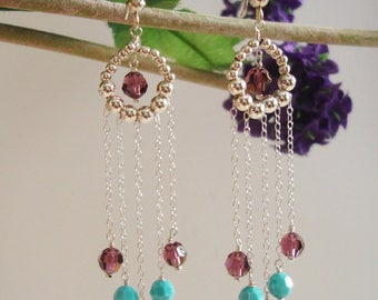 Silver with Swarovski Crystal Beads Earrings Wedding Jewelry.