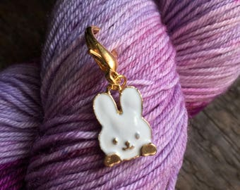 White Rabbit Knitting Stitch Marker / Progress Keeper