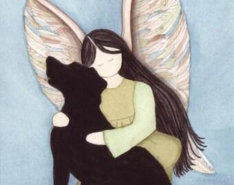 Black lab (Labrador Retriever) with angel / Lynch signed folk art print