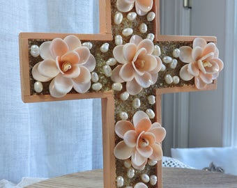 Hanging Shell Cross in Peach and White