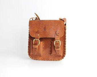 Vintage 70s Brown Leather Shoulder Bag | 1970s Handcrafted Veg Tan Leather Purse