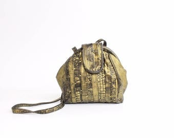 Vintage 1980s Metallic Leather Purse | Exotic Lizard Embossed Leather Shoulder Bag | Crazy Boho Leather Bag