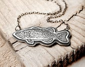 Sterling silver Bass necklace, Bass jewelry, Largemouth Bass, fly fishing necklace , gift for her, fisherman jewelry, fish necklace