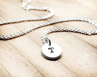Tiny initial necklace, initial pendant, personalized necklace, gift for her, mom necklace, sterling silver initial charm, gift for mom