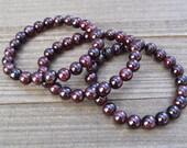 Red Garnet Bracelet/ Garnet Bead Bracelet/ Red Gemstone Bracelet/ Red Stretch Bracelet/ Red Garnet Jewelry/ Unisex