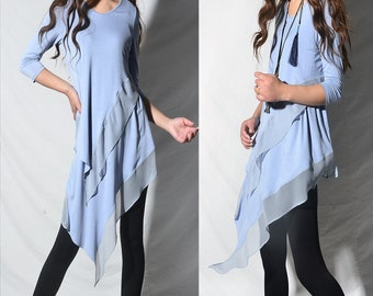 SALE - Leaves breeze - zen layered tunic dress / idea2lifestyle boho tunic 3/4 sleeve dress light cotton dress flowing tunic dress (Q1997a)