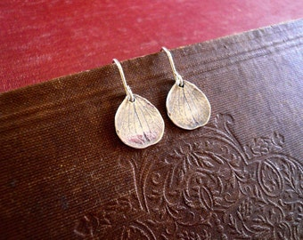 Rustic Petal Earrings in Sterling Silver - Detailed Sterling Silver Hydrangea Petal Earrings Dainty Everyday Earrings