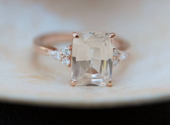 Engagement Ring Rose gold engagement ring Champagne Sapphire ring Blake Lively ring emerald cut Rose gold diamond ring 3.55ct sapphire ring