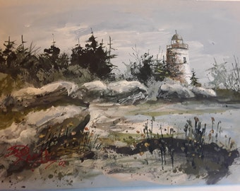 Lighthouse  Nautical Seascape 5x7 in. print by Jim Smeltz