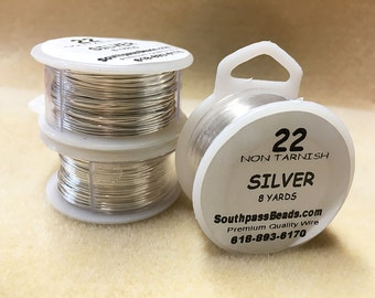 22 gauge Non Tarnish Silver Copper Craft Wire 8 yards Made in USA