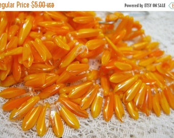 ON SALE Light Orange Yellow Transparent Czech Pressed Glass Large Dagger Beads 5x15mm