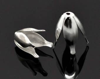 40 Tulip Bead Caps Silver Plated Bendable 4 Petal Cones Bead Caps 13mm x 8mm