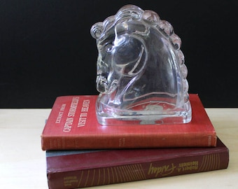Vintage glass horse head bookend or paperweight.