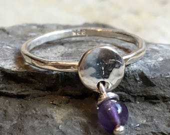 Amethyst dangle birthstone ring, mothers ring, stacking ring, personalised ring, family stones ring, february ring - Your Colors R2499-3