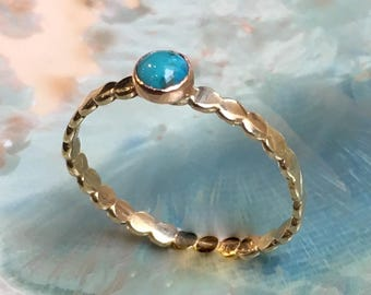 Turquoise ring, December birthstone ring, Gold ring, brass ring, stacking ring, skinny ring, dainty ring, gemstone ring - Wake Up Call R2504