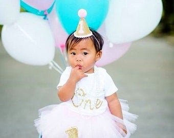 Pink and Gold 1st Birthday Outfit, First Birthday Outfit, First Birthday Tutu Set, 1st Birthday Tutu Outfit, Gold Party Hat, Pink Tutu Dress