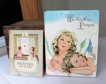 VINTAGE - two children's prayer books with colorful illustrations