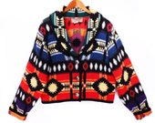 90's cropped tapestry SOUTHWEST bolero // short jacket // ethnic aztec jacket // colorful cotton // women's M