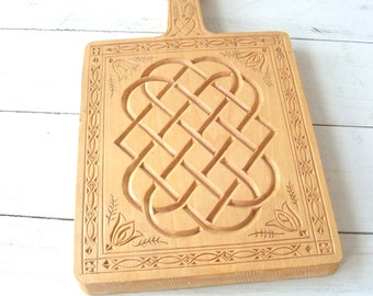 Vintage folk art carved wood chip carving cutting board wall hanging