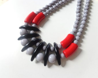 grey black bib necklace, colourful chunky necklace, modern tribal necklace, statement red black grey necklace
