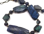 50% OFF SALE Blue labradorite necklace with delicate pyrite accent