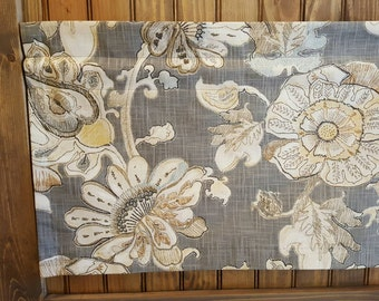 Grey Gray Floral Valance - Richloom Almada Granite Fabric - Colors include brown, blue, tan, yellow, grey and cream.