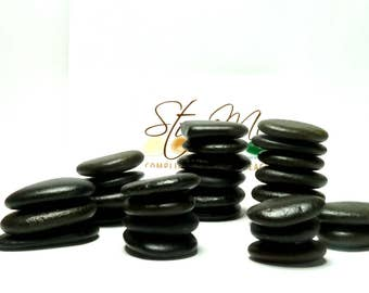 Genuine Beach Sea Stones Black Rune Lake House Decoration Cairn Paintable Pebbles Meditative Therapy Bathroom Accent River Rocks Crafts