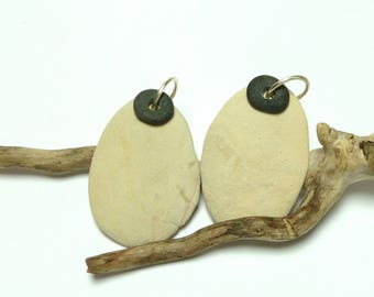 Genuine Drilled Beach Stones X-Large Hanging Ovals Pair Natural Pebbles Dangles Pendant or Earring Set