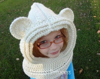 Bear Hood Animal Ears Hooded Cowl Scarf READY TO SHIP Crocheted Warm Winter Gifts For Kids