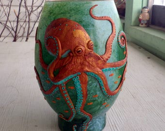 Wicked Copper and Turquoise Octopus Sculpted with Polymer Clay onto a Recycled Glass Art Vase in Fresh Greens