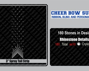 """3"""" Cheer Bow Fancy Tail Rhinestone Strip 3"""" X 13"""" INSTANT FILE DOWNLOAD"""
