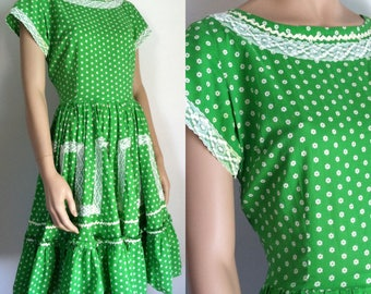 Vintage Dress - Green Ditsy Print Country Rockabilly Dress