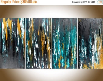 Abstract painting Turquoise black white gold wall art Original artwork acrylic Impasto large canvas art blue home decor by QiQiGallery