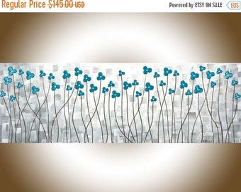 """Abstract turquoise painting home decor wall art narrow art grey flowers palette knife Canvas wall hangings """"After the Rain"""" by QIQIGallery"""