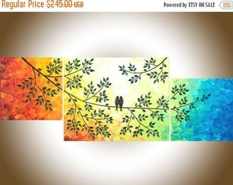 "Rainbow color art love birds art set of 3 Painting acrylic painting on canvas painting ""The Sun Shines on Us"" by qiqigallery"