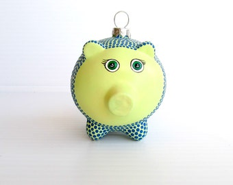 Piggy Ornament: Hand painted Glass Piggy ornament Mellon Green and dark turquoise blue Piggy