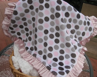 "SALE  baby girl 18""  double minky lovey  blanket with ruffle can be personalized"