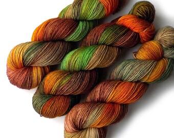 NEW Polwarth Sock Yarn Handdyed, Harvest Veggies