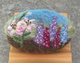Felted Goat Milk Soap - Floral Garden Themed and Scented with a Fresh Picked Garden Herb and Floral Fragrance