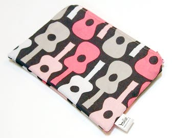 """Wee Wet Bag Mini Wet Bag for your purse or diaper bag - 5 X 7 inches - """"Pink Guitars"""" - Woven Cotton Print"""