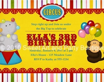 Circus Birthday Party Personalized custom Invitation invite DIY you print digital Printable Big top Carnival Elephant Monkey balloons