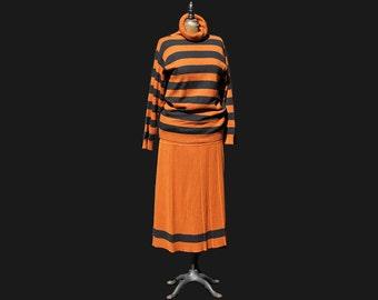 Vintage Italian Wool Rust Brown and Black Turtleneck sweater and Skirt