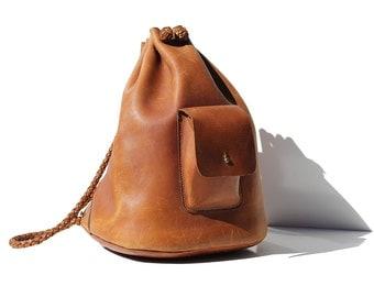 Vintage Brent-wood Brown Thick Leather Backpack Bag