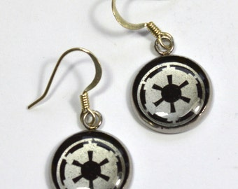 Star Wars Imperial Crest Sci Fi Silver Resin Earrings