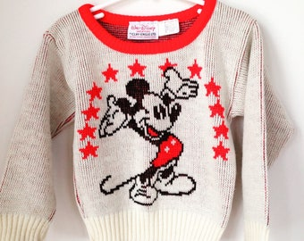 vintage mickey mouse sweater by clif engle childrens size 3T 4T